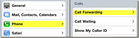 iPhone Call Forwarding Setting
