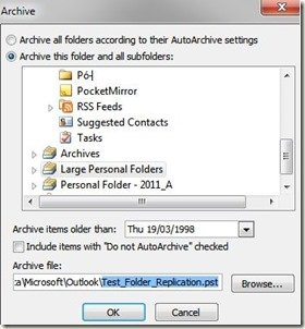 Copy Folder Structure of Current Outlook PST