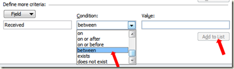 Advanced Find Search in Outlook date range