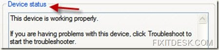 Device Status Messsage Window