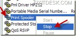 Stopping Printer Spooler Service