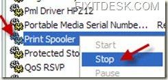 Stopping Printer Spooler Service