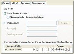 WZC Service Logon Screen