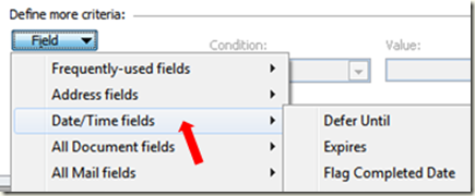 Advanced Find Search in Outlook date and time